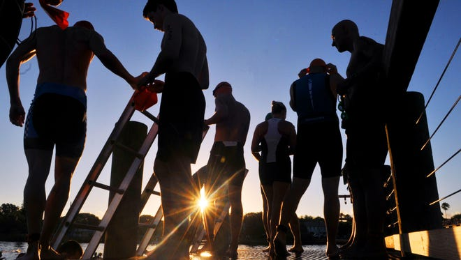 Triathletes get ready for the start of the swim portion of the 31st Rotary Pineapple Man Triathlon in 2016.