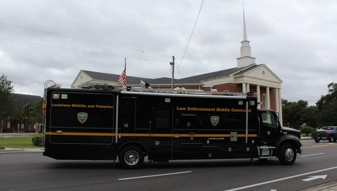 A response vehicle from the Louisiana Wildlife and Fisheries at East Brent Baptist Church.