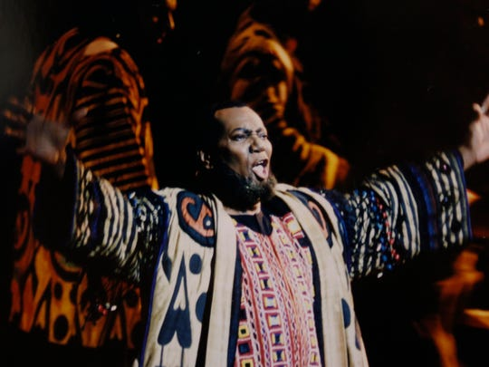 """Simon Estes plays the High Priest in the opera """"Samson and Delilah"""" in Barcelona, Spain, in 2000."""