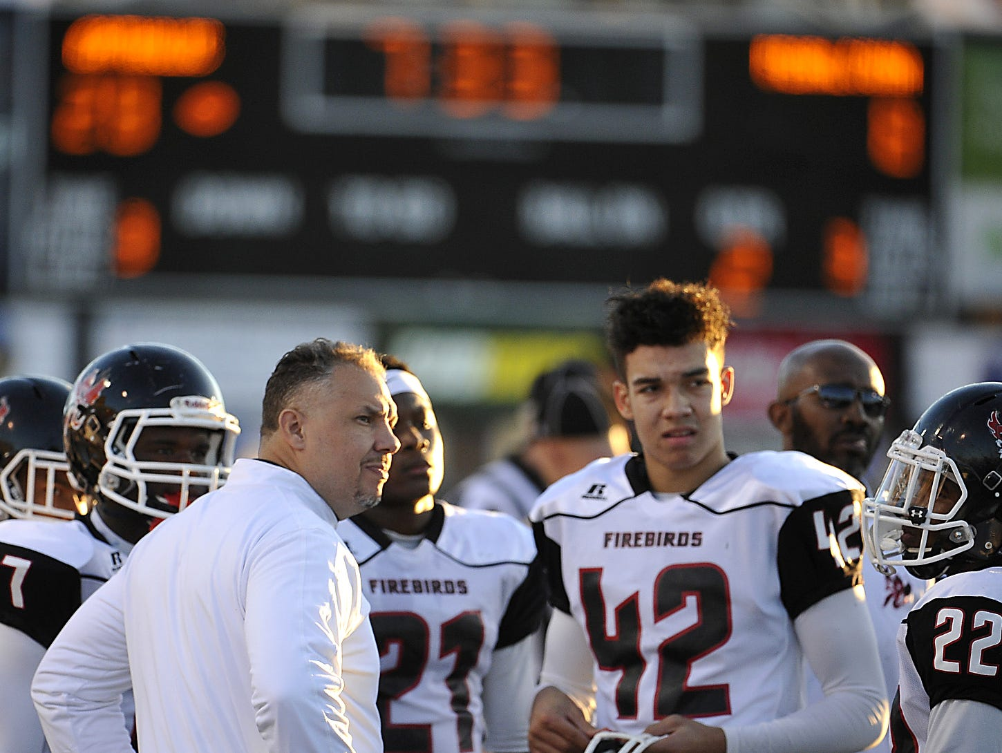 Pearl-Cohn coach Tony Brunetti and Brayden DeVault-Smith look on during last December's BlueCross Bowl loss to Knoxville Catholic.