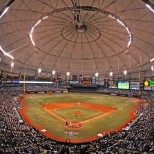 General view as the Tampa Bay Rays play the season opener against the New York Yankees on April 13, 2009 at Tropicana Field in St. Petersburg, Florida.