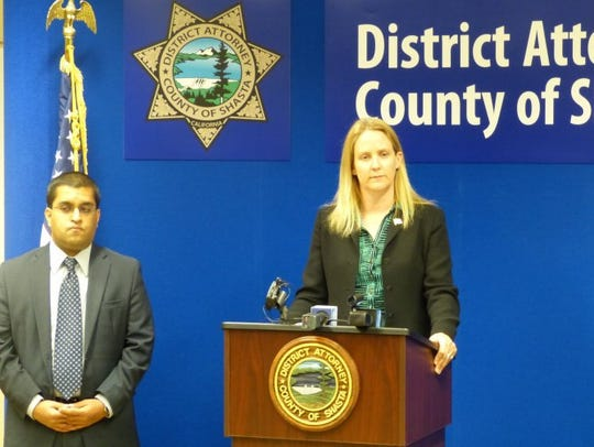 In 2016, Shasta County Chief Deputy District Attorney Stephanie Bridgett (center) leads a press conference with Senior Deputy District Attorney Lucky Jesrani (left) and District Attorney Steve Carlton.