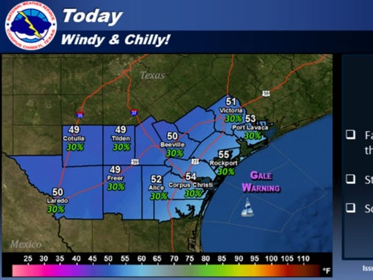 Today will be windy and chilly in the wake of a strong arctic cold front. Be prepared for falling temperatures through the day and strong, gusty north winds.