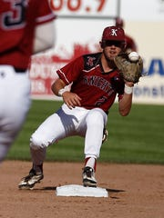 Nashville's Thomas Zazzaro fields a throw at second base for an out against the East Cobb Yankees Tuesday during Game 3 of the Connie Mack World Series at Ricketts Park in Farmington.