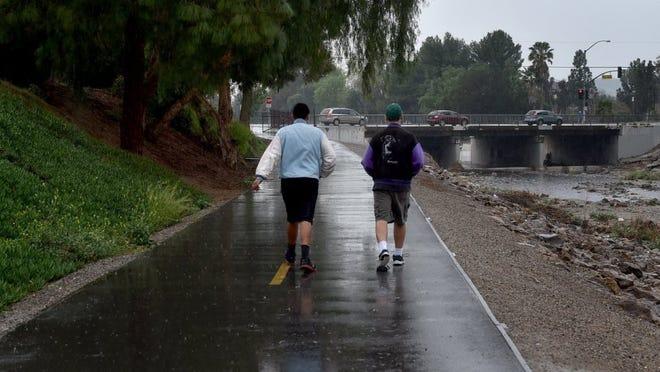 Rain falls along the Simi Valley Arroyo Creek.
