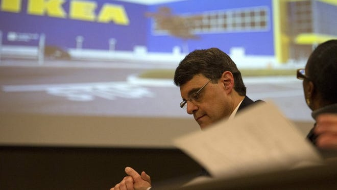Brandon Dill/Special to The Commercial Appeal Economic Development Growth Engine (EDGE) board president Reid Dulberger listens during a video presentation by retailer IKEA during an EDGE meeting.