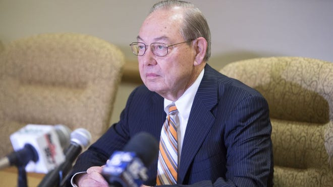 Chancellor Jimmy Cheek announced his plans to retire as soon as a replacement can be found on the University of Tennessee campus in Knoxville on Tuesday, June 21, 2016. UT president Joe DiPietro said a search to find Cheek's replacement began immediately. (AMY SMOTHERMAN BURGESS/NEWS SENTINEL)