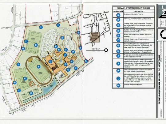 Map showing French-American School of New York's alternate site plan for a new school for grades 6-12 in White Plains.