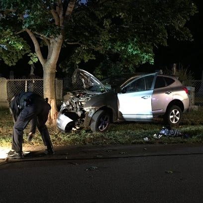 Burlington Police said six people were injured Saturday evening when a Nissan Rogue struck a tree on Archibald Street.