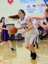 Jackie Smith handles the ball Tuesday in Clyde's sectional setback.