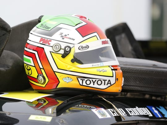 The helmet of Cale Conley, a NASCAR Xfinity driver, sits on his car Friday at Road America. The series races at the track in Elkhart Lake today.