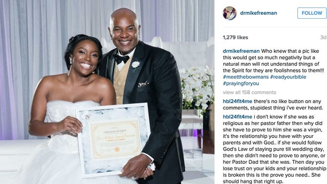 Brelyn Bowman pledged to her father, Michael A. Freeman, the founder and pastor of the Spirit of Faith Christian Center in Maryland, that she would remain a virgin until marriage.