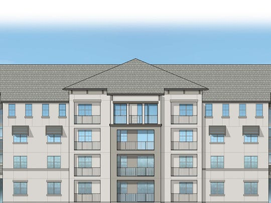 Front elevation rendering of one of the Inspira apartment buildings under construction at Lely Resort in East Naples.