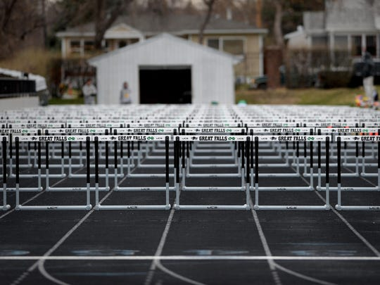 Hurdles set up on the track at Memorial Stadium.