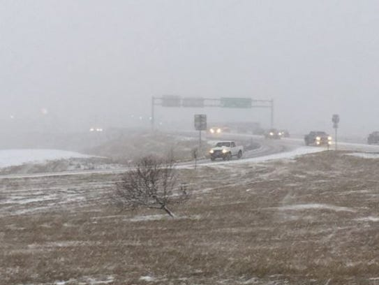 Snow hampers visibility at I-229 and Louise on Friday