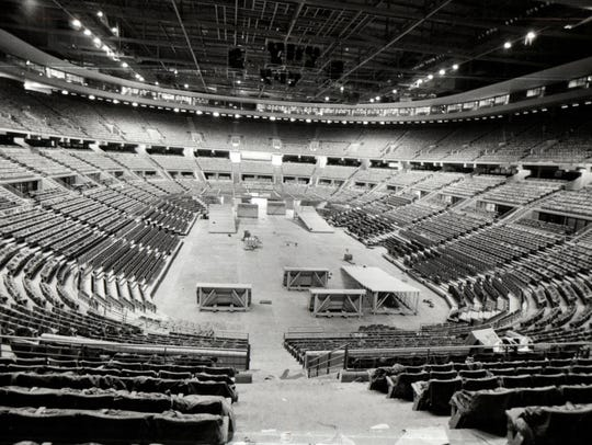 The Palace of Auburn Hills during construction.