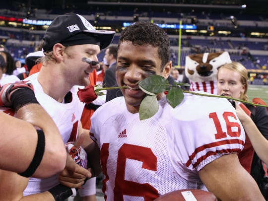 Russell Wilson led Wisconsin to a  42-39 victory over  Michigan State in  the 2011 Big Ten championship game at Lucas Oil Stadium in Indianapolis.