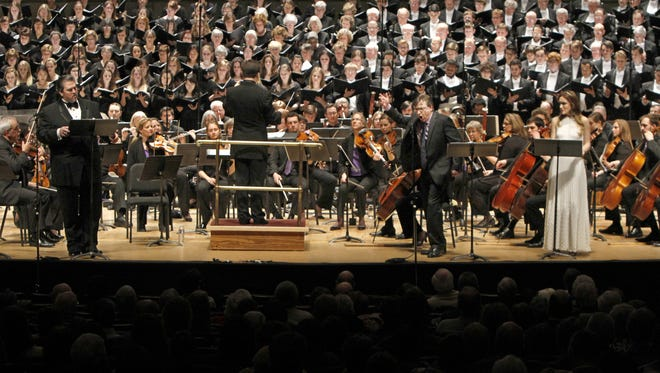 Performers pack the stage during the opening night performance of Howard Hanson's Merry Mount at Kodak Hall at Eastman Theatre Thursday, April 10, 2014 in Rochester.