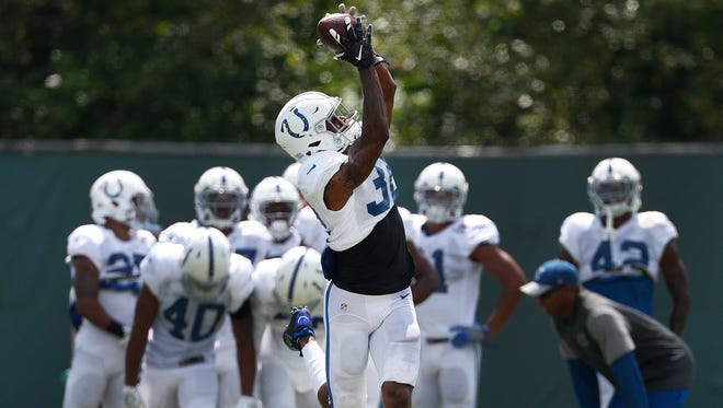 Indianapolis Colts free safety T.J. Green (32) during their preseason training camp practice at the Colts complex on West 56th Street Tuesday afternoon, August 15, 2017.