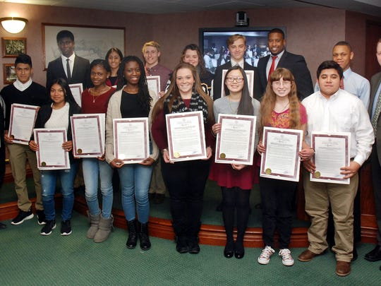 Union County Freeholder Chairman Mohamed Jalloh and Freeholders Linda Carter and Christopher Hudak recently presented resolutions to the high school members of Team Light Blue, congratulating them on winning the civic engagement challenge of 2015 Union County Student Training and Enrichment Program (UC STEP).