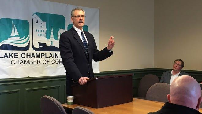 Lake Champlain Regional Chamber of Commerce president Tom Torti speaks on Tuesday in Burlington.