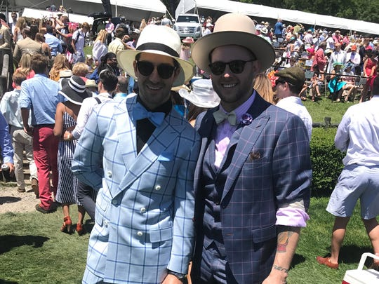 Jason Jarrett and Eric Adler are paired perfectly with classic hats for a dapper Steeplechase look Saturday, May 13, 2017.