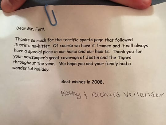 The letter from Justin Verlander's parents, Kathy and Richard, that accompanied a signed poster sent to Free Press sports writer Ryan Ford.