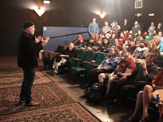 Phoenix actor Phlip Haldiman talks to a crowd at Film