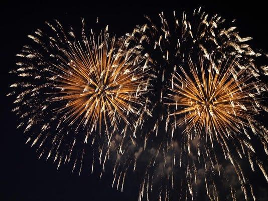 Fireworks in night sky
