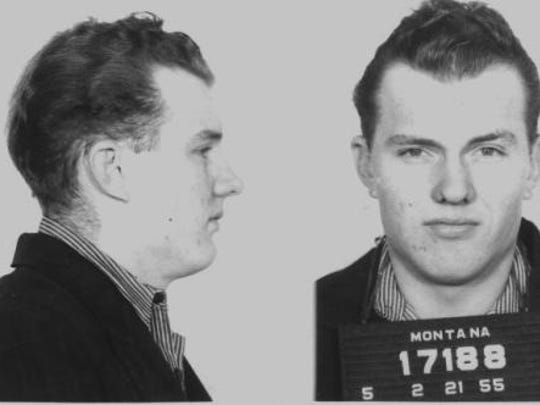 Booking photos of Frank Dryman taken after his arrest for murder in 1951