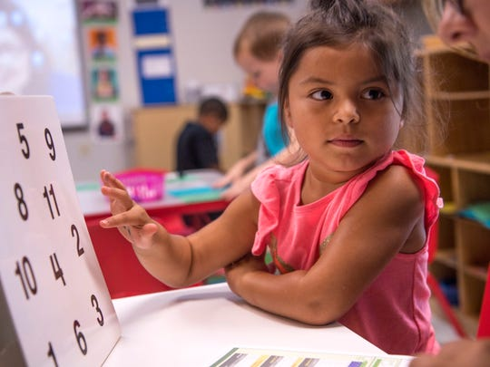 Mia De La Luz goes through an assessment test with her teacher, Laura Moore, at the Thelma B. Johnson Early Learning Center Monday morning. The early childhood center is the first in the nation to receive a 21st Century Learning Centers grant.
