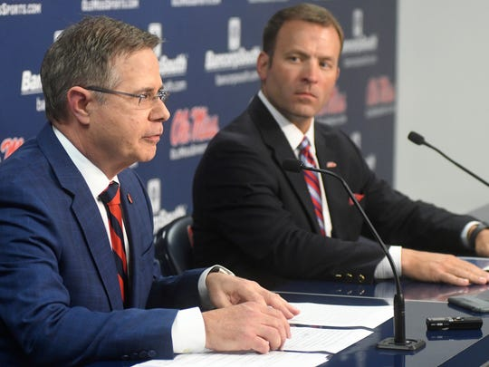 Chancellor Jeff Vitter, left, and athletic director Ross Bjork, right, have  both been vocal in their opposition of the NCAA's ruling on Ole Miss.