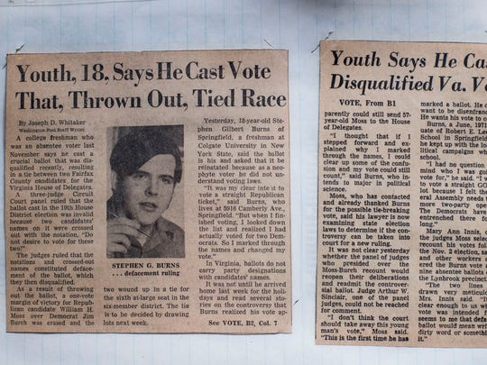A Washington Post story from 1971 about Stephen Burns's ballot sits on a table in his home in Washington.