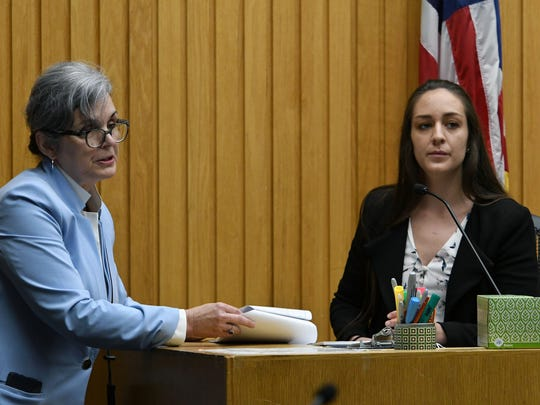 Prosecutors Leslie Nassios questioning Anna Lawn on the witness stand during the trial of A.J. Johnson and Michael Williams before Knox County Criminal Court Judge Bob McGee Tuesday, July 24, 2018.