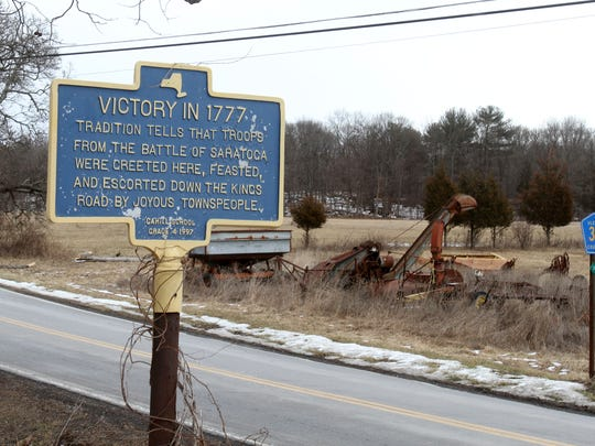 A historical marker on the side of Old Kings Highway commemorates the Battle of Saratoga in the Ulster County town of Saugerties Feb. 2, 2017.
