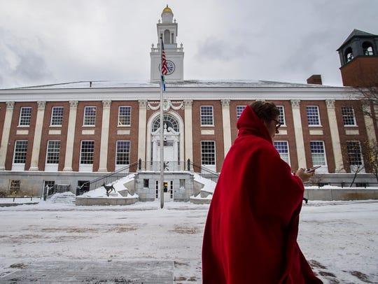 A pedestrian braves sub-zero temperatures in Burlington