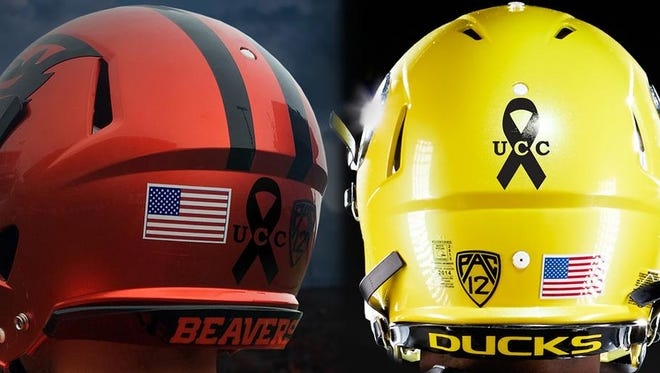 The Ducks and Beavers will wear decals on their helmets in support for the victims of the deadly shooting at Umpqua Community College in Roseburg.
