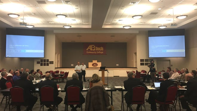 Skyland Fire Chief Ryan Cole speaks to Buncombe County commissioners Tuesday, Jan. 10, 2018, at a workshop to discuss fire departments' pay and budgets.