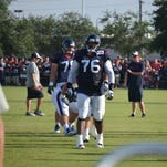 Houston Texans left tackle Duane Brown takes a break during a morning practice at the Methodist Training Center at NRG Park.