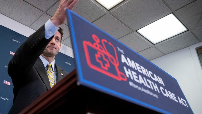 House Speaker Paul Ryan of Wis. calls on a member of the media during a news conference following a GOP party conference at the Capitol, Wednesday, March 15, 2017, in Washington. (AP Photo/Andrew Harnik)