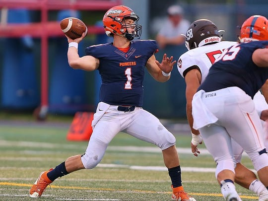 Waverly graduate Peyton Miller played quarterback for Utica College last season, but this year he's catching passes -- lots of them.
