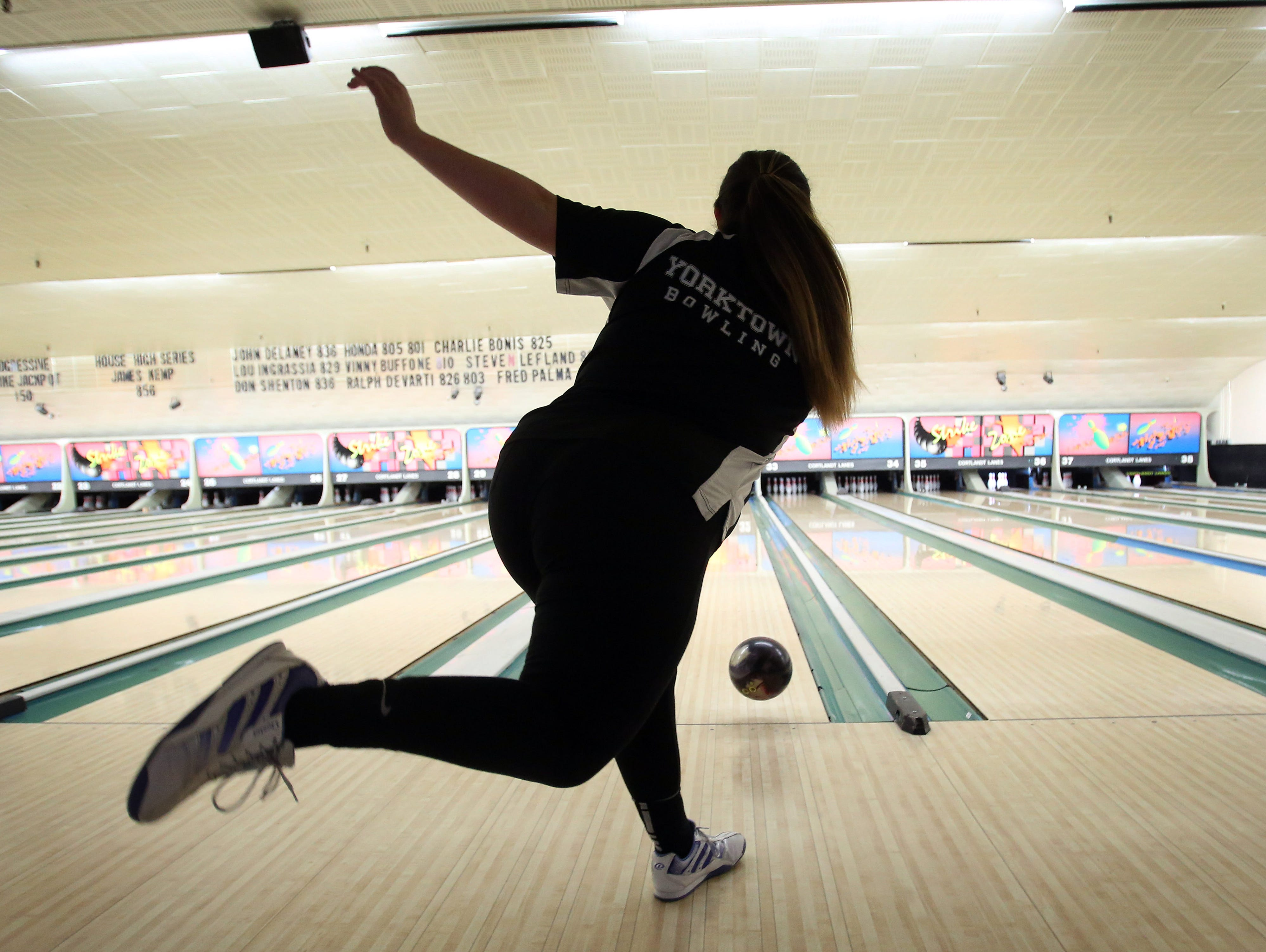 Yorktown's Gabby Branciforti is the bowler of the year. Branciforti was photographed at Cortlandt Lanes in Cortlandt Manor on March 30, 2016.