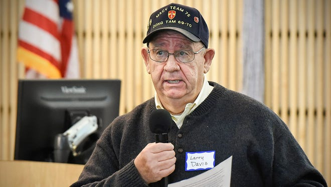 Larry Davis shares some of his experiences from the Vietnam War Saturday, Nov. 4, at the St. Cloud Public Library.