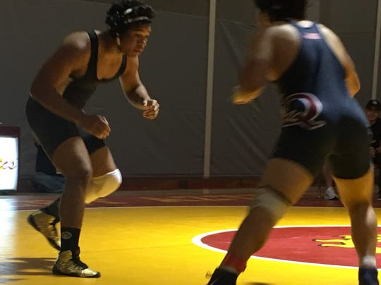 Palm Springs wrestler Aurek Boutte won the title at 195 pounds Saturday at the DVL Individual Championships at Palm Desert High School.