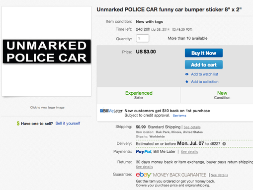 "An ""Unmarked Police Car"" bumper sticker similar to the one a Franklin woman was told to remove from her minivan is available for sale on eBay."