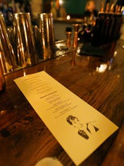 The cocktail menu at The Hepburn, a new speakeasy at