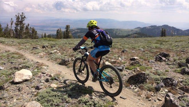 A mountain bike rider on near Marlette Peak on the Tahoe Rim Trail in Nevada