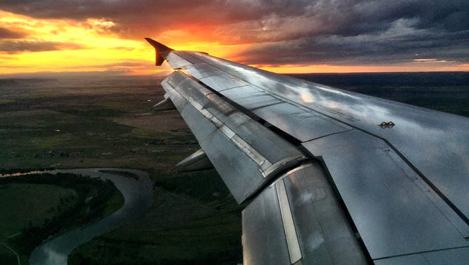 A Delta flight into the Great Falls airport landed just as the sun set near the solstice.