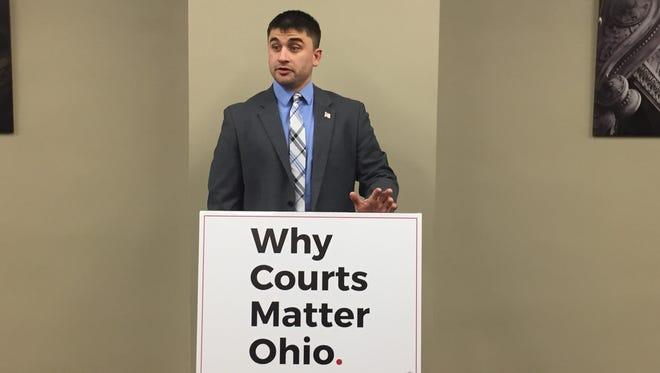 Joe Helle, shown here speaking at a January news conference in Columbus, resigned as mayor of Oak Harbor on Monday after village officials questioned his residency.