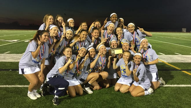 The Brighton girls lacrosse team defeated Spencerport, 10-9, in overtime on Tuesday at Pittsford Sutherland to win the Class B title.